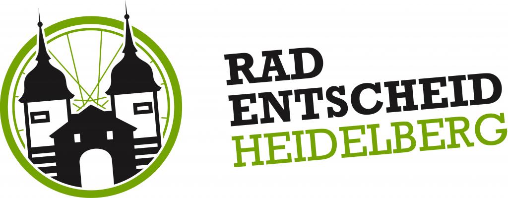 Schriftzug Radentscheid Heidelberg neben der stilisierten Alten Brücke vor einem stilisierten Rad